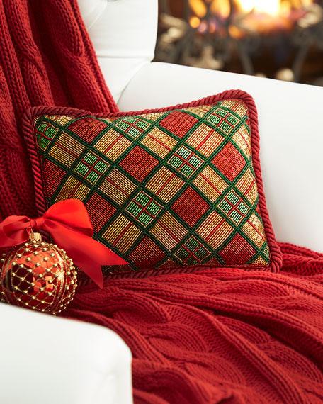 Sudha Pennathur Beaded Plaid Christmas Pillow