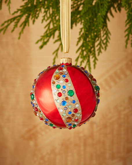 Shiny Faux-Jewel Swirl Ball Ornament