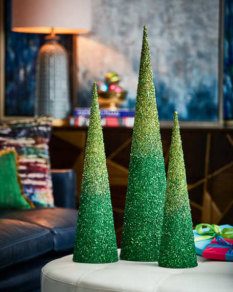 Playful Brights Collection Green/Lime Glitter Christmas Trees,