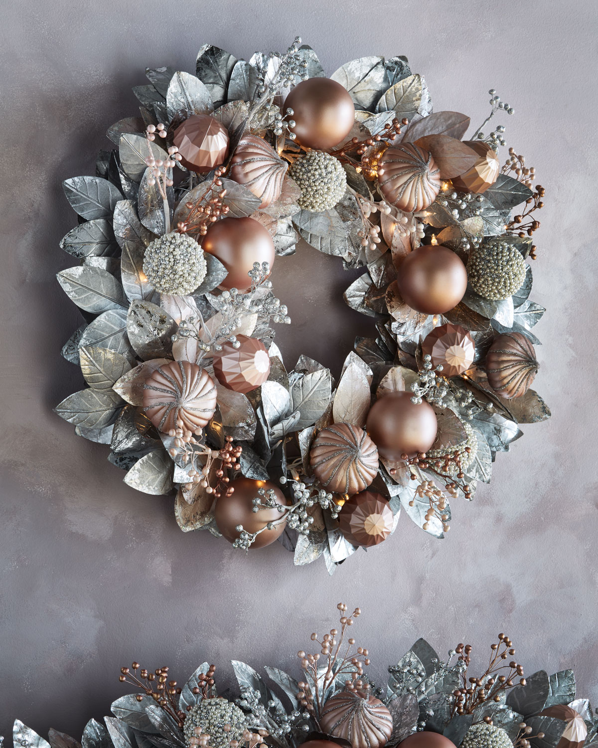 Blush and Pewter Collection Pre-Lit Wreath, $550.00, Neiman Marcus
