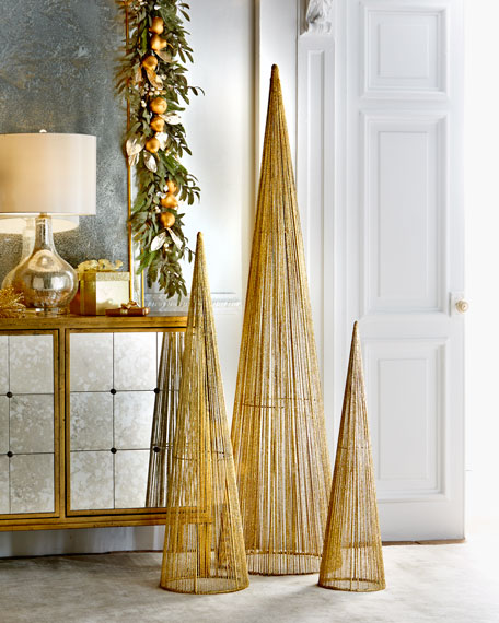 Golden Glitter Wire Christmas Trees, Set of 3
