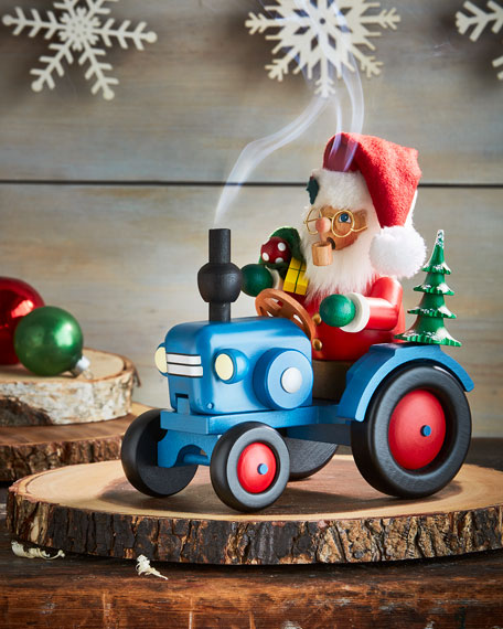 Santa on Tractor Nutcracker