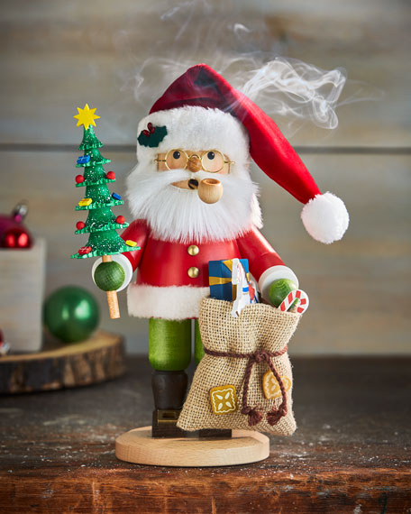 Small Santa with Pipe and Presents Nutcracker