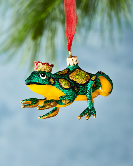 Glitter Frog King Ornament