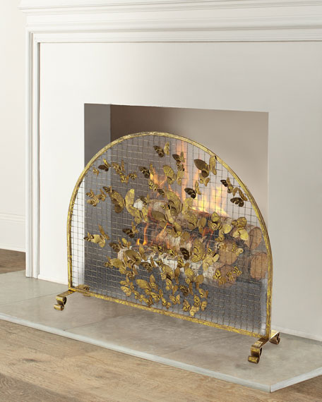 Arched Butterfly Fire Screen