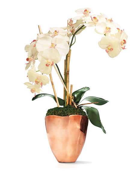 Rose Gold Faux-Orchid Arrangement