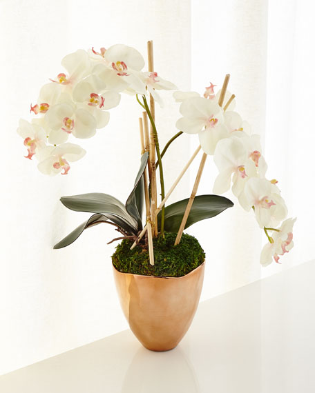 John-Richard Collection Rose Gold Faux-Orchid Arrangement