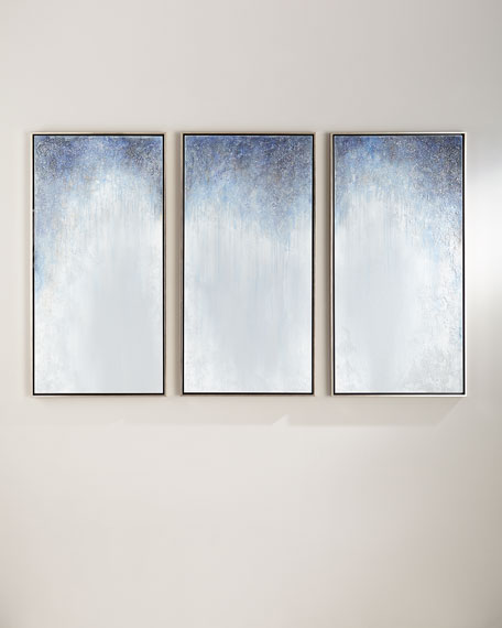 Triptych Colors in Blue Hand-Painted Art on Canvas