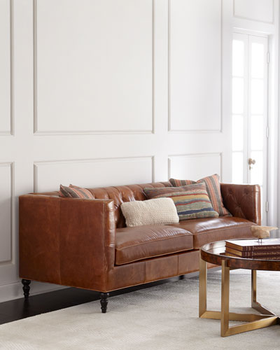 Kyrie Leather Tufted Sofa