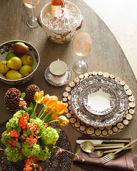 Round Natural Sliced Wood Charger Plate