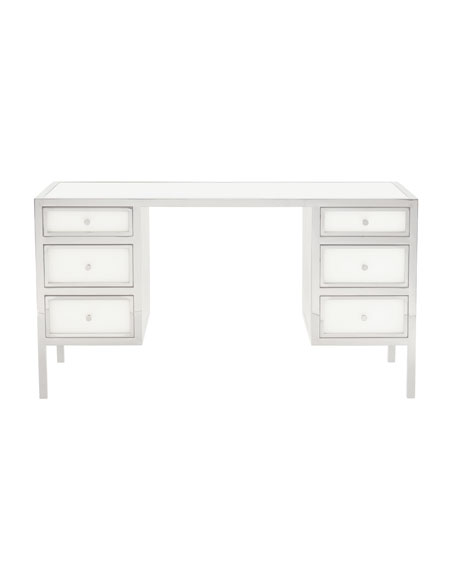 Darcey Stainless 6-Drawer Desk
