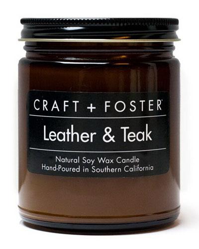 Leather & Teak Candle, 8 oz.