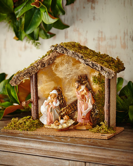 Holy Family and Stable, 3 Piece