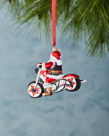 Motorcycle Santa Ornament