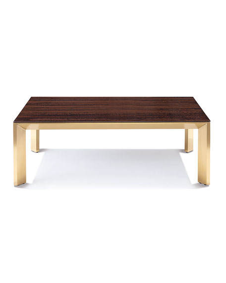 Bradshaw Brushed Brass Coffee Table, Brown/Gold