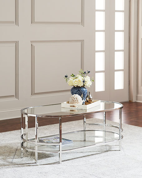 Interlude Home Halle Stainless Steel & Glass Coffee Table
