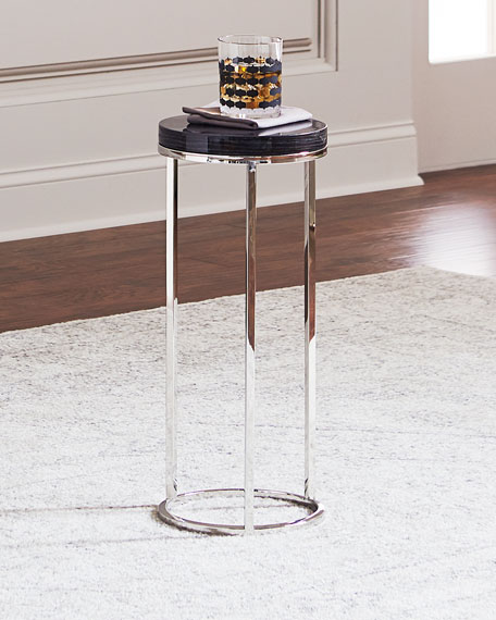Letitia Round Stainless Steel Side Table, Smoke Gray/Silver