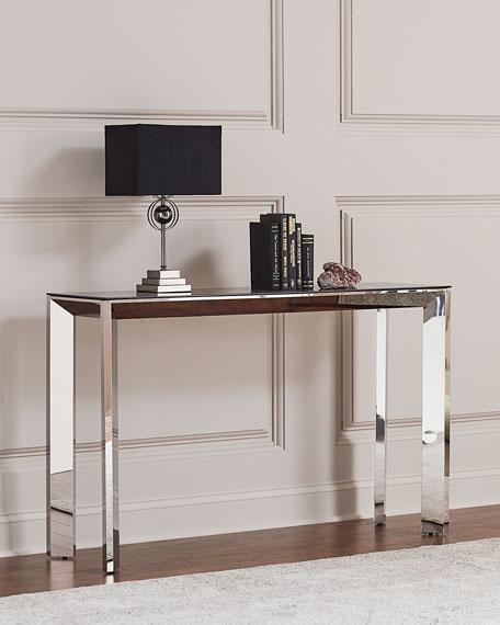 Bradshaw Polished Nickel Console Table, Smoke Gray/Silver