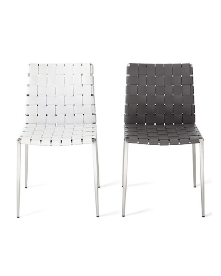 Kennedy Woven Leather Dining Chair, Gray