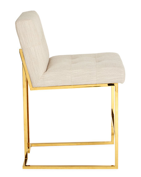 Linen Goldfinger Counter Stool, Beige