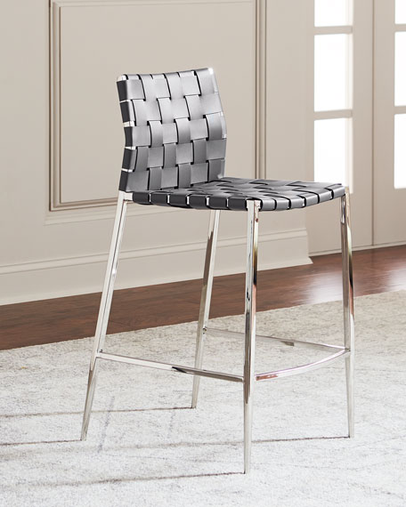 Kennedy Woven Leather Bar Stool, Gray