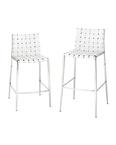 Kennedy Woven Leather Counter Stool, White