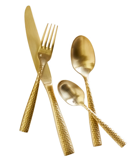 20-Piece Lucca Brushed Golden Flatware Service