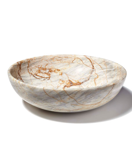 Century Marble Round Small Shallow Fruit Bowl