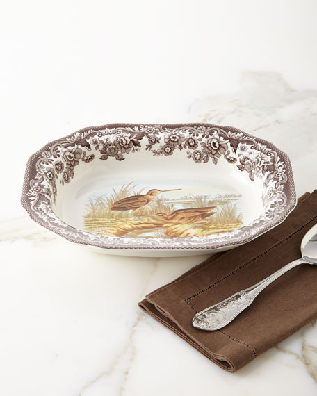 Spode Woodland Open Vegetable Serving Dish with Snipe