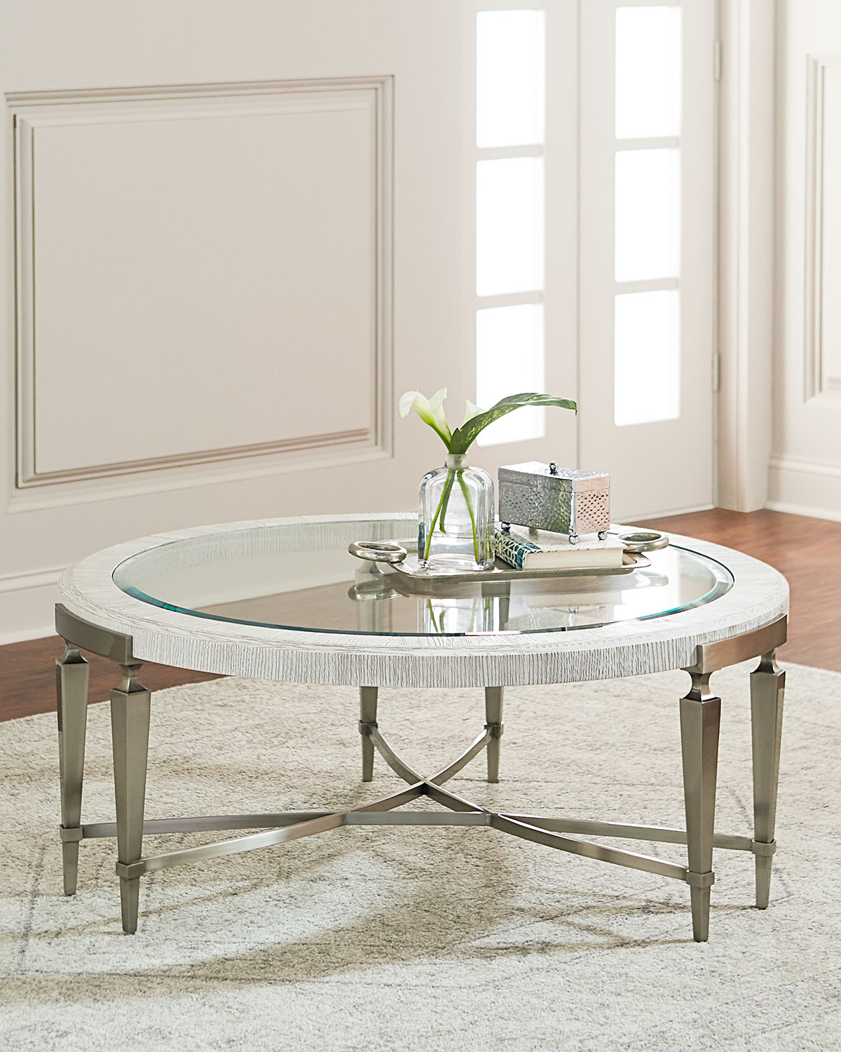 Black Oak Round Coffee Table: Bernhardt Damonica White Oak Round Coffee Table