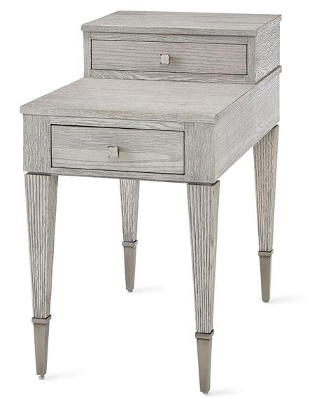 Damonica White Oak Two-Drawer Side Table