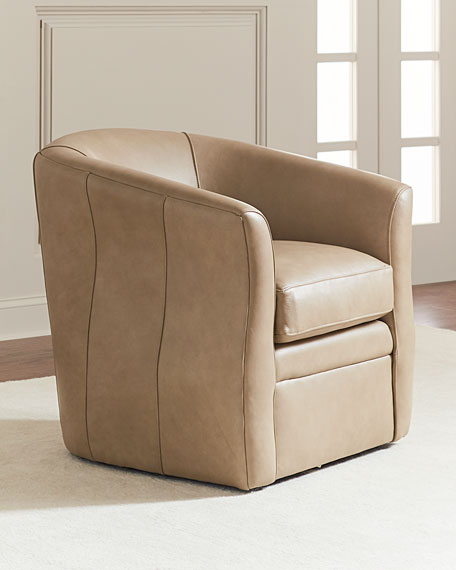 Evander Leather Swivel Chair, Light Taupe