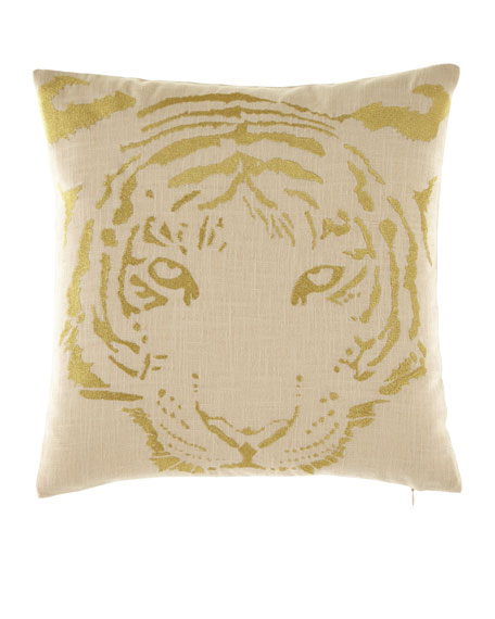 Tiger Gold Embroidered Pillow