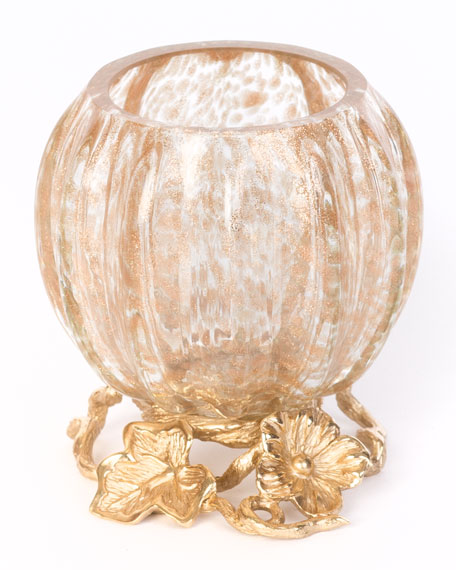 Jay Strongwater Leaf & Flower Gilded Votive