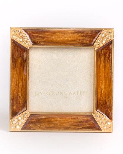 Leland Pave Corner Square Frame, Medium Brown