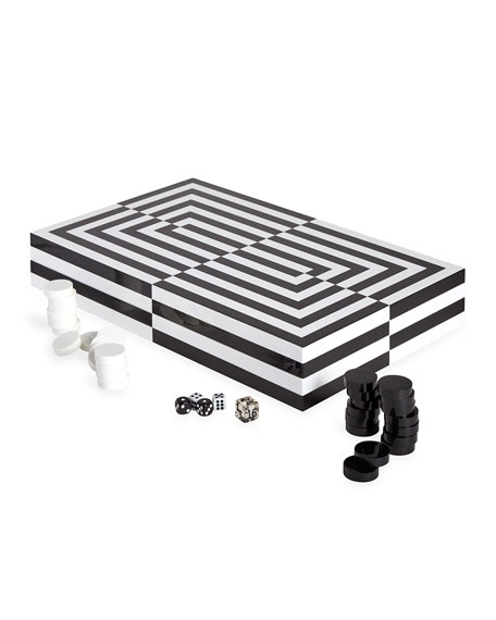 Jonathan Adler Optical Illusion Art Backgammon Set
