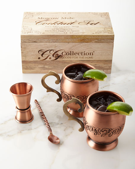G G Collection Acanthus Moscow Mule Four-Piece Set