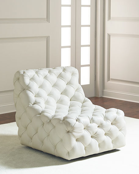 white tufted chair. Dunaway Tufted Swivel Chair White