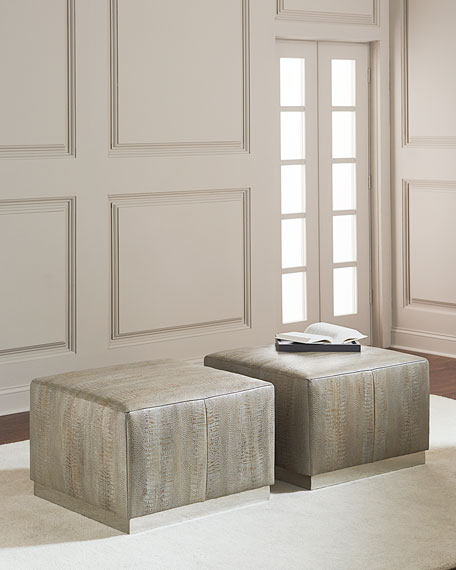 Bernhardt Cormac Embossed Leather Ottoman
