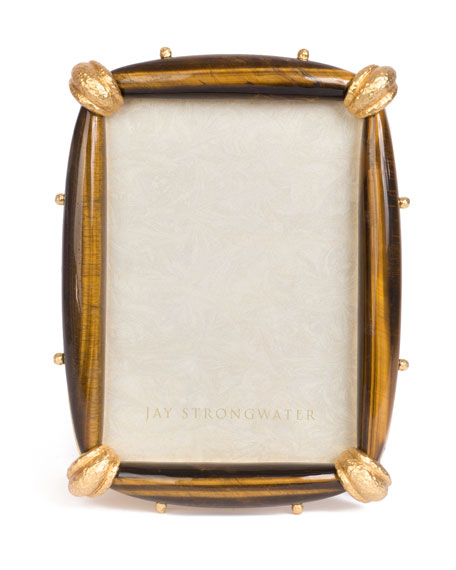 Jay Strongwater Angelo Tiger Eye Picture Frame, 5