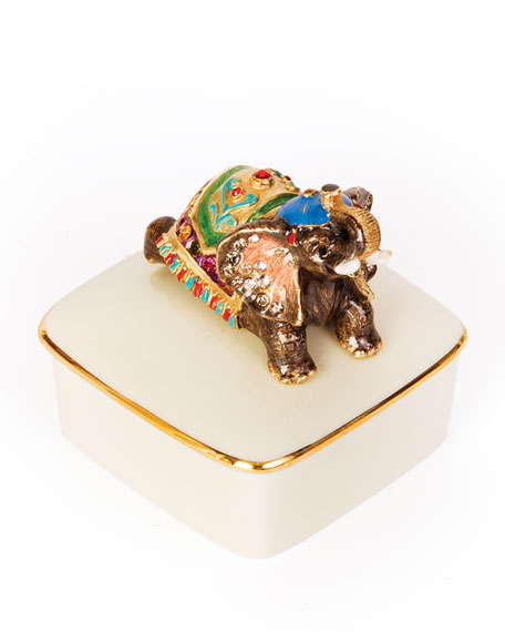 Jay Strongwater Elephant Porcelain Box