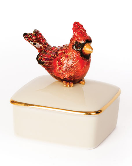 Jay Strongwater Cardinal Porcelain Box