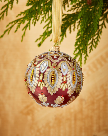 """Burgundy Glittered Ornament with Beaded Detail, 4"""""""