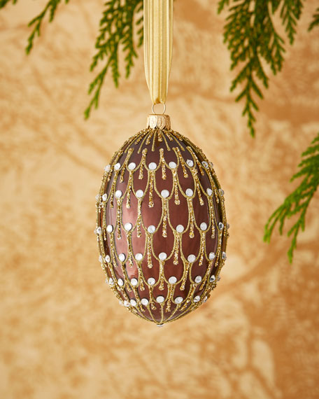 Shiny Brown Egg with Gold Glitter and Gems