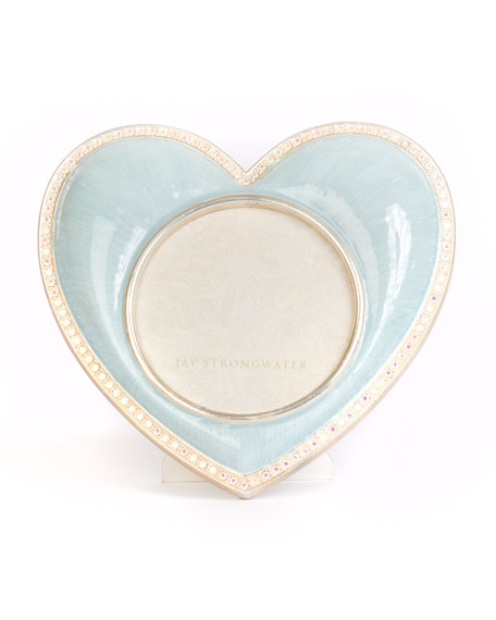 Jay Strongwater Chantal Heart Picture Frame, Blue