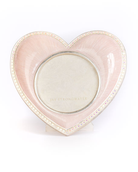 Jay Strongwater Chantal Heart Picture Frame, Pink
