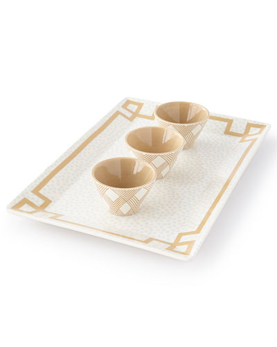 Small Dot Rectangle Platter w/ Bowls Serving Set