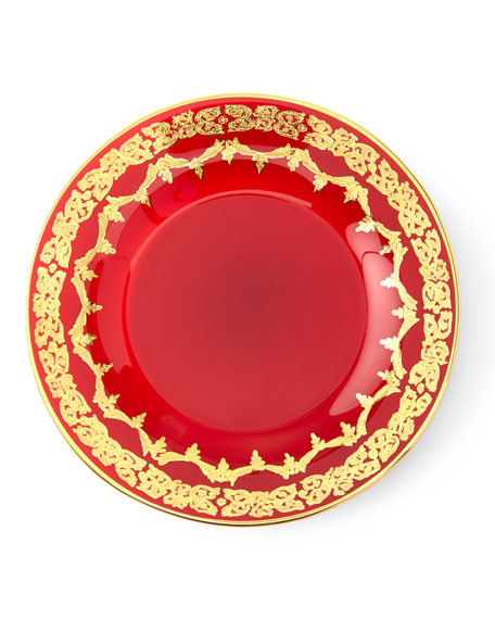 Red Oro Bello Dessert Plate, Set of 4