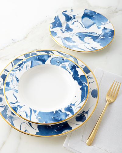 12-Piece Blue Marble Dinnerware Service  sc 1 st  Neiman Marcus : blue and white tableware - pezcame.com
