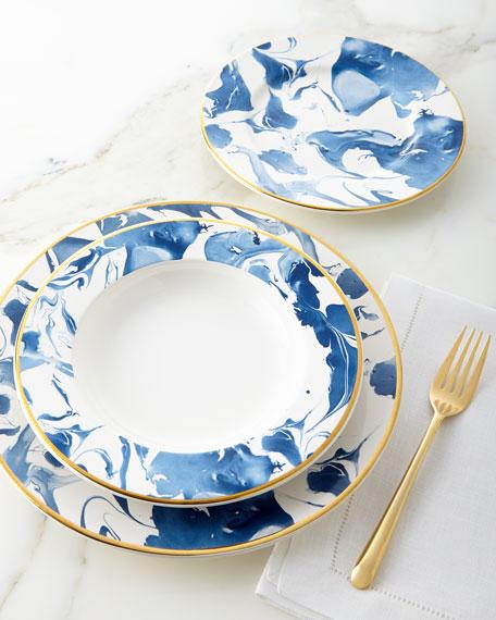 12-Piece Blue Marble Dinnerware Service